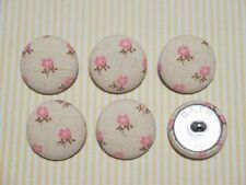 6 Light Pink Flower with Light Brown Fabric Covered Buttons - 30mm