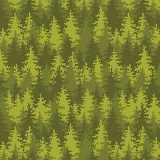 Fabric Let's Go Camping Trees Spruce Pine Green on Cotton by the 1/4 yard