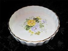 TRADITIONAL OVEN FLAN DISH Yellow & Violet Floral Pattern ASHLEY CERAMICS