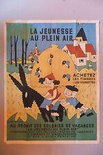 LA JEUNESSE AU PLEIN AIR, affiche pour les colonies de vacances par Monier, 1953