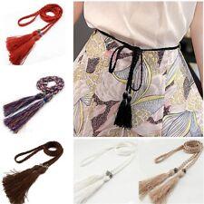 Women Belt Braided Belt Woven Tassel Self-Tie Thin Chain waist bow tie rope UK