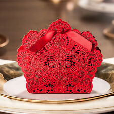 50 PCS Red Luxury Wedding Party Sweets Cake Candy Gift Favor Favor Boxes Bag H01
