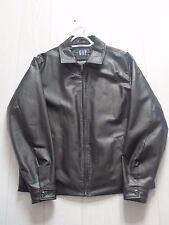 GAP Men's Medium Dark Chocolate Brown Zip Front Leather Jacket