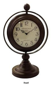 SWIVEL CLOCK ON STAND Double Sided Glass Clock Mirror Numbers Brown