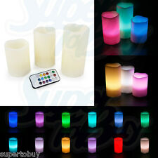 """LED Ivory Flickering Flameless Candles -Set of 3 [4"""" 5"""" 6""""] Multicolor w/ Remote"""