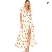 NWT Privacy Please Plaza Kimono Floral Wrap Tie Maxi Dress Size S V Neck Cream