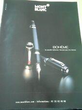 Publicté Advertising 2001  Stylo Mont Blanc Bohême