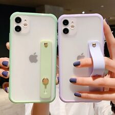 Wrist Strap Candy Color Phone Case Fr iPhone Shockproof Bumper Transparent Cover