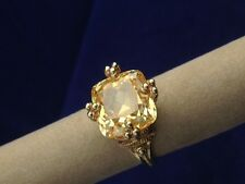 Ladies Judith Ripka Ring in 14k Yellow Gold set w/ Cushion Shaped Canary Crystal