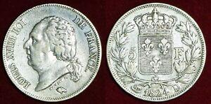 FRANCE 5 francs 1824D Louis XVIII silver