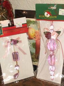 2 VTG Santa's World Holiday Christmas Tree Ornaments~PINK CRYSTALS & ROSES
