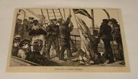 1880 magazine engraving ~ SIGNALING A PASSING STEAMER