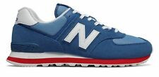 New Balance Men's 574 Essentials Shoes Blue with Red
