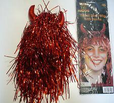 Halloween/Fancydress Red Devil Decorazioni Parrucca con corna da diavolo