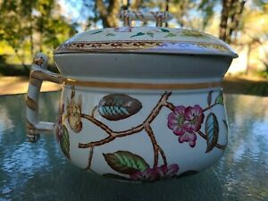 Antique Polychrome English Ironstone Chamber Pot~Birds Cherry Blossom Design ❤