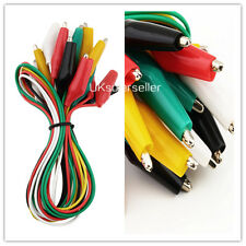 10pcs Double-ended Test Leads Alligator Crocodile Roach Clip Jumper Wire ST