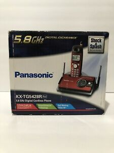 Panasonic 5.8 GHz Digital Cordless Phone KX-TG5428R (Red) Used In Good Cond