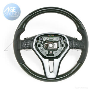 OEM Mercedes-Benz E350 E400 E550 CLS550 Black Ash Wood & Leather Steering Wheel