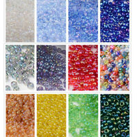 50g 11/0 Round Glass Seed Beads Transparent Colors Rainbow 2x1.5mm 3300pcs Loose