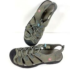 Swiss Gear Women's Size 10 Gray Leather Casual Hiking Shoe Sport Sandals Lace Up