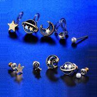 5in1 Womens Planet Pearl 18k Gold Plated Clip on Ear Cuff Stud Earrings Earings