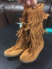 Minnetonka Boho Hippy Suede 3-Tier Fringe Mid-Calf Boots Women's Size 6