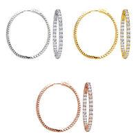 2 Carat Oval Inside-Out Diamond Hoop Earrings 14k Solid Gold Vintage