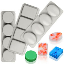 4 Cavity Homemade Craft Soap Mold Cake Candy Tray Soap Silicone Mould DIY Tool