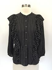 New Madewell Silk Ruffle-front Top Blouse Black Sz XS H3849 $118