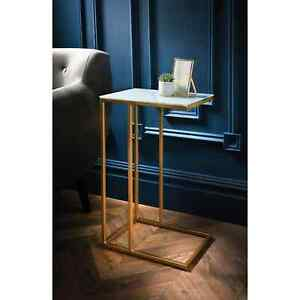 Gatsby Glass Marble Effect Top Sofa Table With Gold Finish Legs & Metal Base