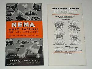 NOS 1949 PARKE DAVIS Booklet NEMA WORM CAPSULES Livestock DRUG STORE 30 Pgs MINT