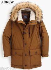 New J.CREW Thinsulate XL nordic down parka coat jacket brown fur hood anorak NWT