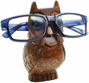 Handcrafted Wooden Spectacle Eyeglasses Holder Owl Shaped Round Base