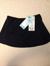 PURE PARADISE BLACK SWIM SKIRT, SZ LARGE, SIDE SLITS, ATTACHED PANTY, NEW W TAGS