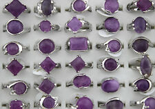 Wholesale lots mix 8pcs amethyst stone silver p lady's rings Free Ship