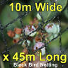 Commercial Knitted Anti Bird Netting 10 Metres Wide x  45 Metres Long - Black