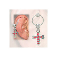 Cartilage - Tragus Dragonfly Design with Jewels (16G-3/8 In-10mm) - BCH8-R