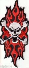 Patch Brodé Skull Red Flame - Style Biker Harley