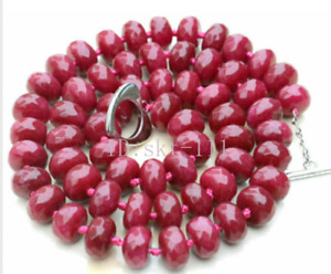 """18"""" AAA Natural! 6x10mm Faceted Red Ruby Rondelle Gemstone Beads Necklace"""