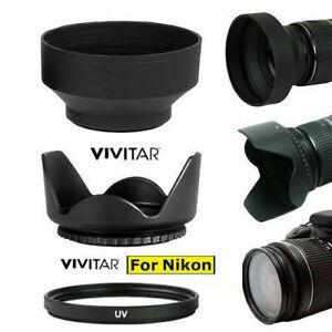 HARD LENS HOOD + RUBBER  HOOD + UV FILTER FOR Nikon AF-S NIKKOR 50mm f/1.8G Lens
