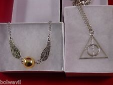 Harry Potter Golden Snitch Wing Bracelet +Deathly Hallows SILVER Charm necklace