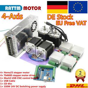 4 Achsen USB Mach3 CNC Kontrolleur Kit Nema23 Schrittmotor 270oz +Treiber TB6600
