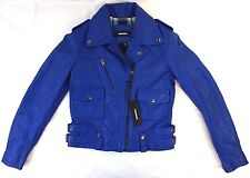 NWT $598 Diesel Women's Blue L-ARA-A Goatskin Leather Jacket S AG18287
