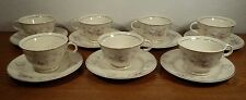 7 Vintage Candle Light American Limoges Silver Moon Tea Cups & Saucers