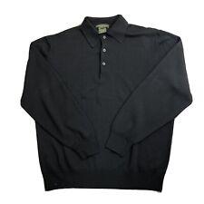 Men's Principe 100% Extra Fine Merino Wool Button Collar Sweater Black Size L