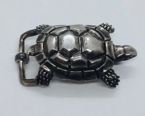 Alexander's Belts & Buckles USA Sterling Silver Figural Turtle Buckle