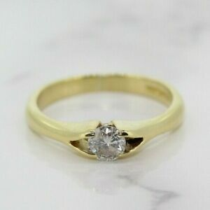 18ct Yellow Gold 0.25ct Diamond Solitaire Ring (Size I 1/2, US 4 2/4)