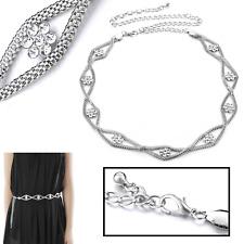 25mm Wide Ladies Chain Charm Metal Waist Belt Flower Design Diamante Crystals