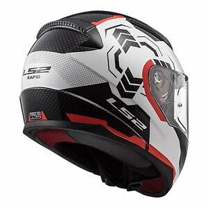 XL LS2 Rapid GHOST Full Face Road Motorbike Helmet Red White Black