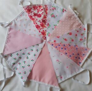 10ft/3 metres Fabric Bunting Shabby Chic Garden Vintage Multiple choice Handmade